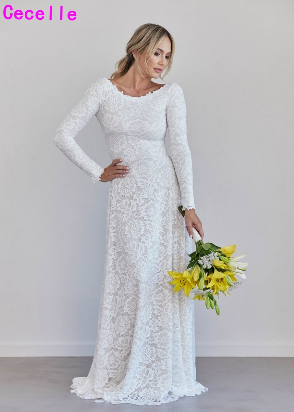 Modest Wedding Dress.Us 162 85 29 Off Robe De Marie 2019 A Line Lace Boho Modest Wedding Dress With Long Sleeves Simple Informal Vintage Bohemian Lace Bridal Gowns In