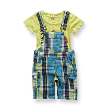 New Born Cheap Imported Baby Boy Clothes Kids Fashion China Infant Clothing Sets Boys Suit Summer Plaid Overall Bib Suit 2pcs