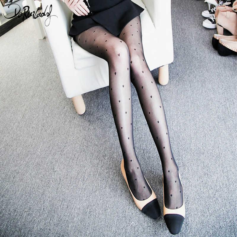 ce0e02994 ... DeRuiLaDy Love Heart Sexy Transparent Pantyhose Black Stockings Fashion  Women s Tights Women Sexy Tattoo Tights Hosiery