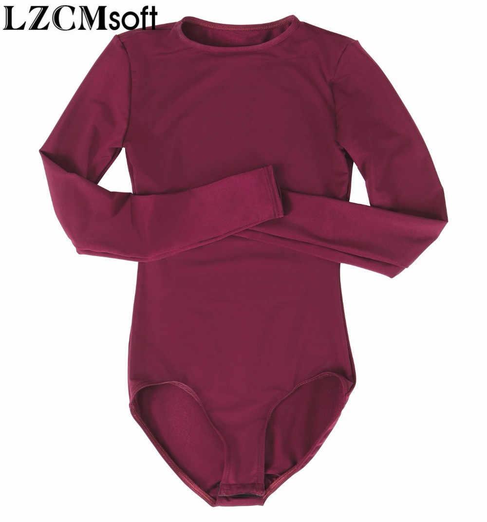 LZCMsoft женские оснастки промежности боди с длинным рукавом для девочек лайкра черный гимнастики трико, боди танцевальные костюмы для взрослых