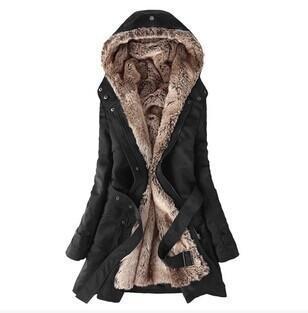 2016 Winter Women Long Fur Collar Coat S-3XL Warm Plush Overcoat Hoodies Thickened Female Parka Plus Size