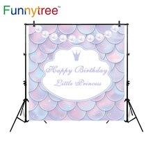 Funnytree backdrop para estúdio fotográfico de aniversário Da Princesa colar de pérolas do floco do conto de fadas fundo profissional photocall