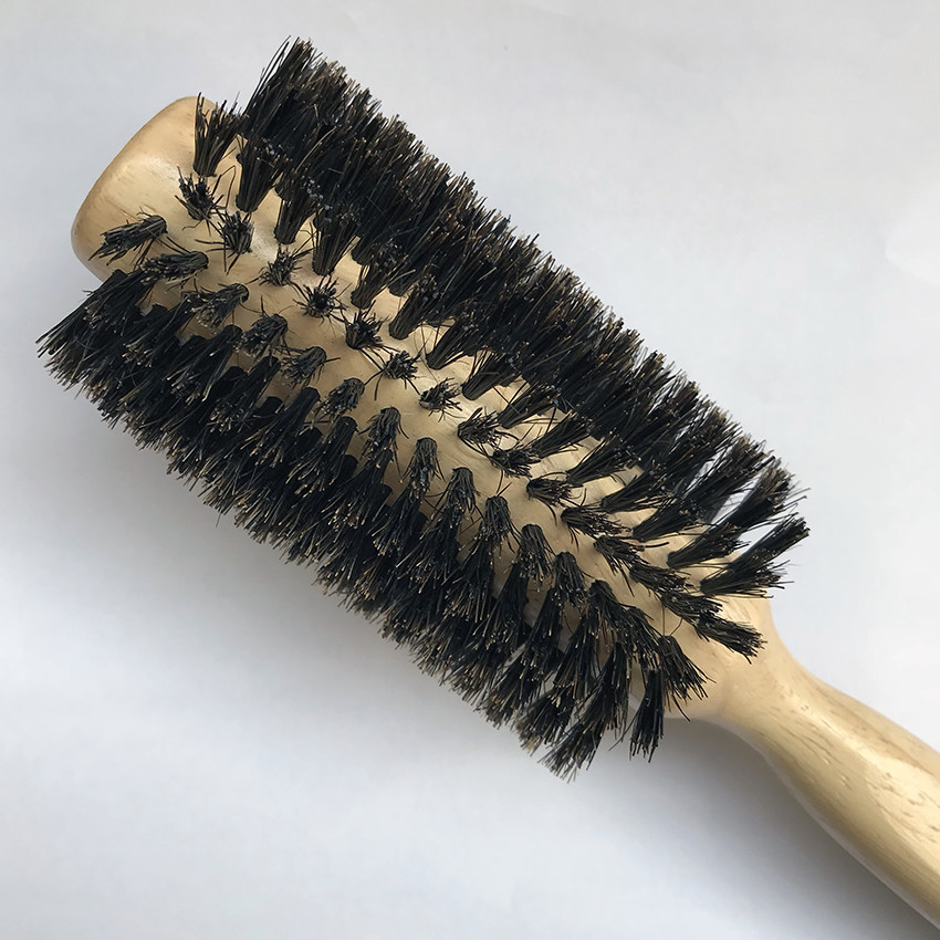 hairbrush round for styling hair, wig of natural bristles, wood. Professional round hair comb Styling tool for 1 (pieces, set)