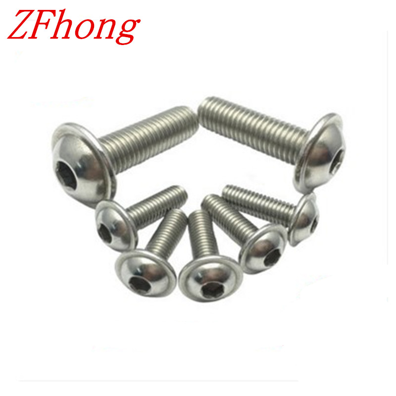 100pcs m3x6/8/10/12/16 hex socket flange button head screw stainless steel 304 50pcs lot iso7380 m3 x 6 pure titanium button head hex socket screw