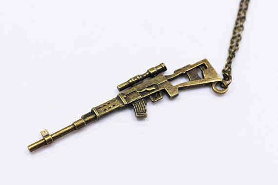 Vintage sieraden Sniper Rifle ketting Halloween ketting voor vrouwen man jongens Cosplay Accessoires gratis schip 12 stks/partij