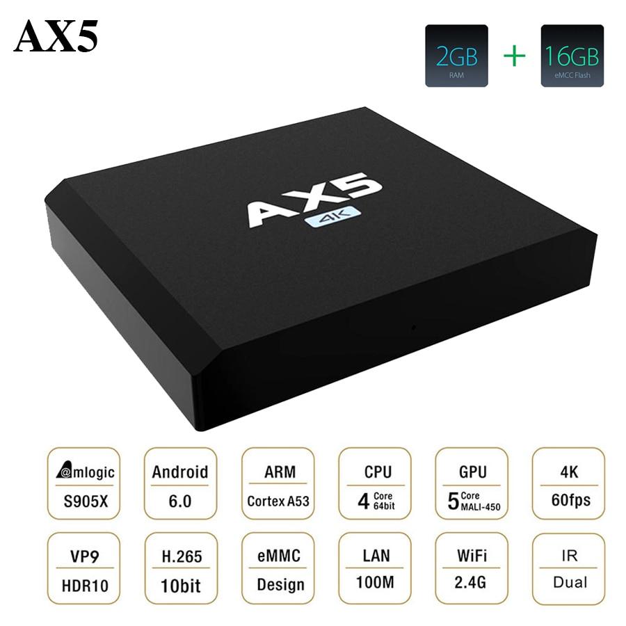 Hot AX5 Android 6.0 TV Box Amlogic S905X 2GB RAM 16GB ROM Quad Core WIFI HDMI 4K*2K HD MINI PC Smart Set Top BOX Media Player