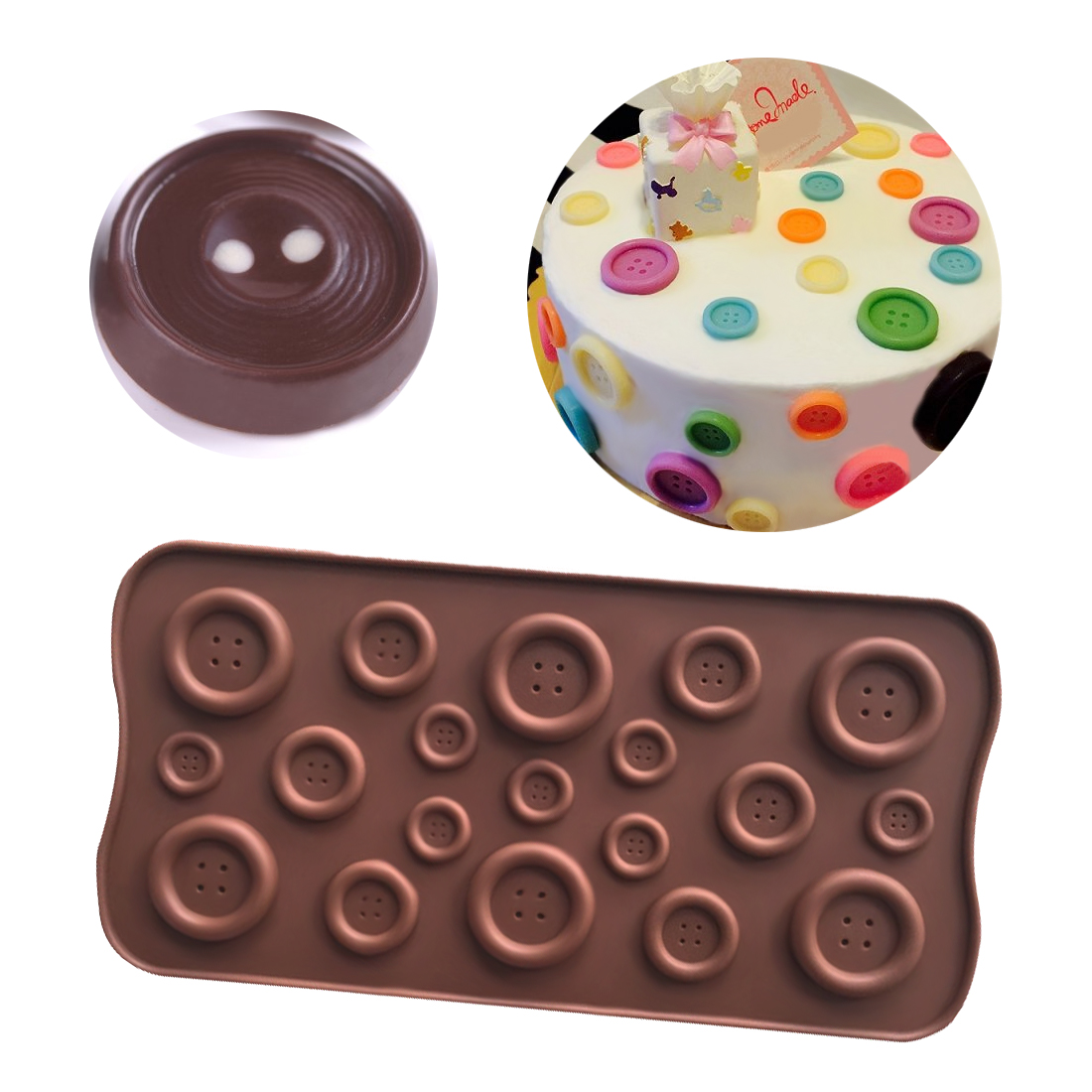 Cute Button Shape Silicone Mold Jelly Soap Chocolate Mould DIY Baking Cake Decorating Tools Kitchen Accessories Bakeware
