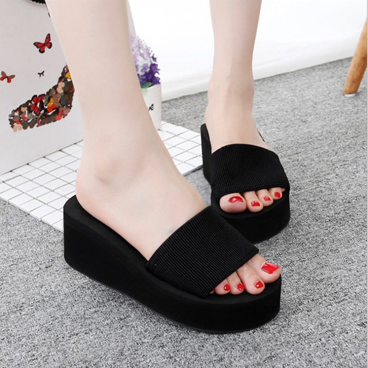 2018 Summer Woman Shoes Platform Bath Slippers Wedge Beach Flip Flops High Heel Slippers for Women Brand Black EVA Ladies Shoes