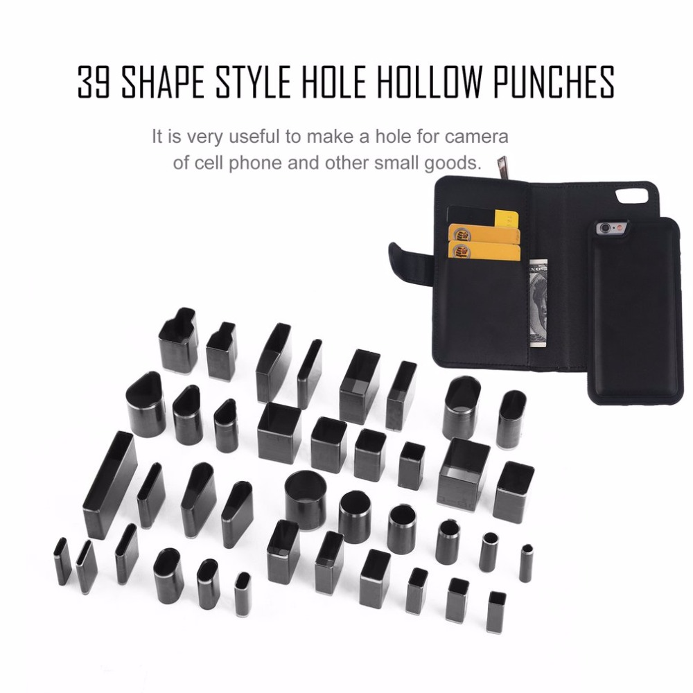 39 teile/satz Leder Loch Hohl Cutter Punch-Sets Metall Loch Cutter Schläge Handgemachte Leder Handwerk DIY Werkzeug für Telefon Holster