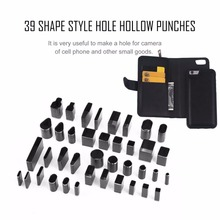 39pcs/set 39 Shape Style Hole Hollow Cutter Punch Metal Cutter Punch Set Handmade Leather Craft DIY Tool for Phone Holster Hot szs hot stamps letters alphabet set punch steel metal tool case craft hot 5mm