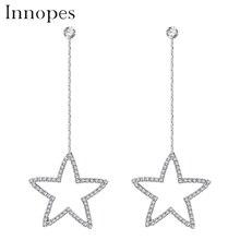 Innopes Classic geometry star earrings crystal stud earring silver minimalist girls