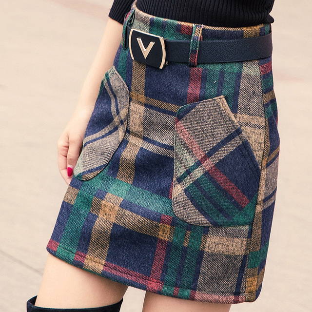 S-3XL New Women's Woolen Blends Skirt Winter 2017 Spring Autumn Fashion Elegant Plaid Thick Slim Short Skirt Girl Female Cotton