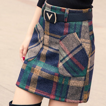 S-3XL New Womens Woolen Blends Skirt Winter 2017 Spring Autumn Fashion Elegant Plaid Thick Slim Short Girl Female Cotton