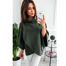 Asymmetrical Turtleneck Hoodie Sweatshirt with Loose Flare Sleeve