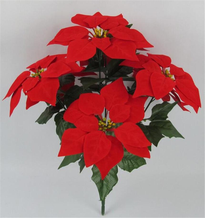 6 adet Yapay Poinsettia Noel Çiçek 48 cm kırmızı / altın / - Tatiller ve Partiler Için - Fotoğraf 5