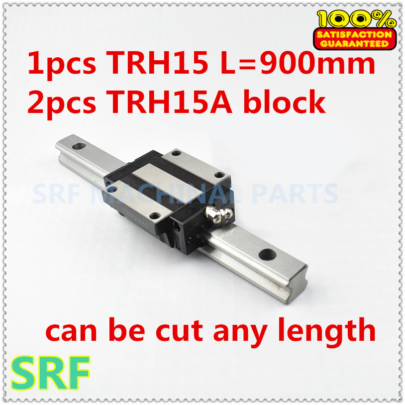 цена на 15mm width Linear Guide Rail 1pcs TRH15 L=900mm Linear rail way +2pcs TRH15A Flange slide block for CNC