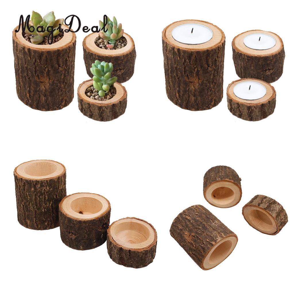 Tree Stump Wooden Candle Holder Tea Light Candlestick Wedding