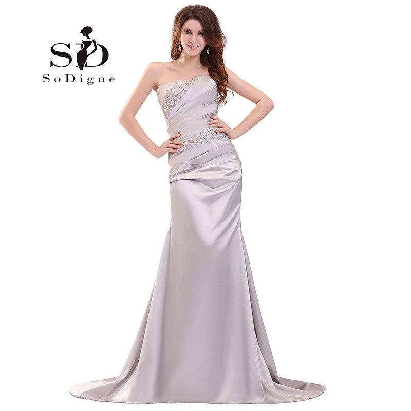 Evening Dress 2018 SoDigne Strapless Lace Up Beaded Crystal Pleats Evening Party Custom Made Elegant Lange