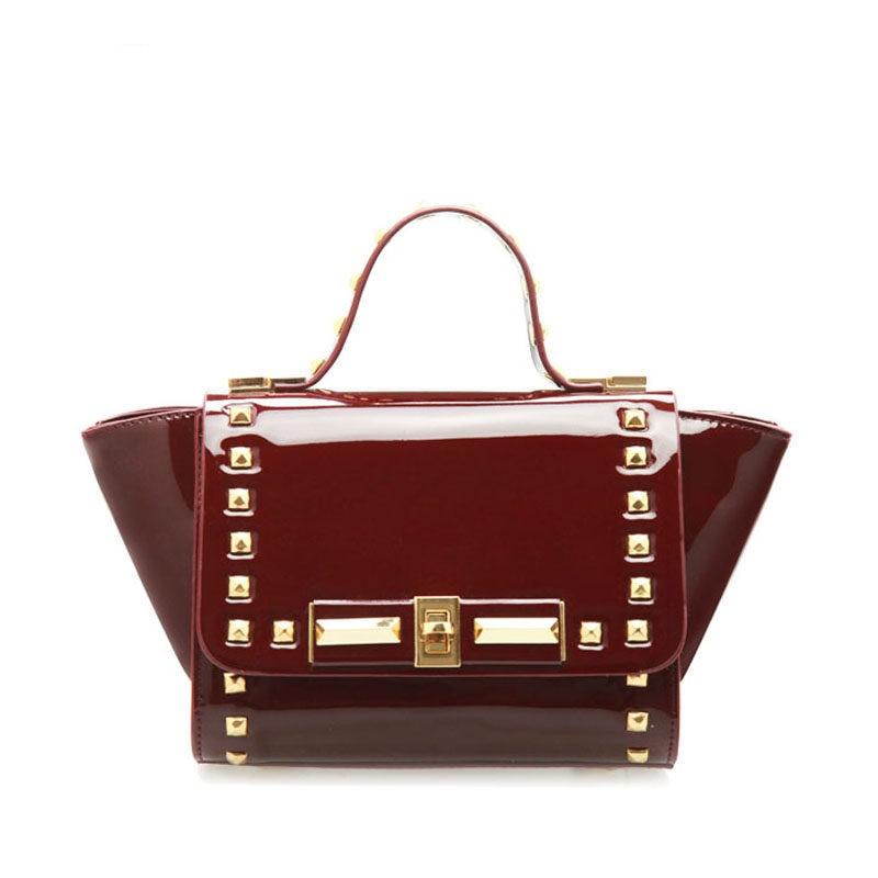 Trendy Patent Leather Chic Rivet Flap Twist Lock Women Designer Classy Small Shoulder Bag Ladies Occident
