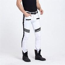 Men White Jeans Fashion Men Slim Pants Plus Size Hip Hop Mens European Jeans Kanye West Designer Biker Jeans Pencil Pants retro wash biker jeans men slim skinny inked pencil pants badge punk white pants motorcycle jeans for boys men jeans mp31 z40