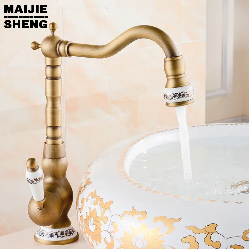 Здесь продается  2016 Free shipping ceramic Antique Brass faucet bathroom sink faucet blue and white porcelain vintage faucet mixer sink tap  Строительство и Недвижимость