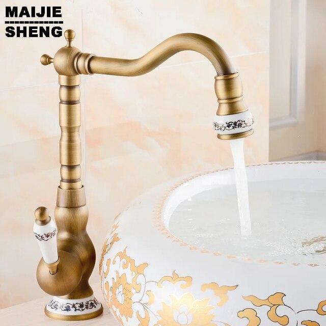 2016 Free Shipping Ceramic Antique Brass Faucet Bathroom Sink Faucet Blue  And White Porcelain Vintage Faucet Mixer Sink Tap