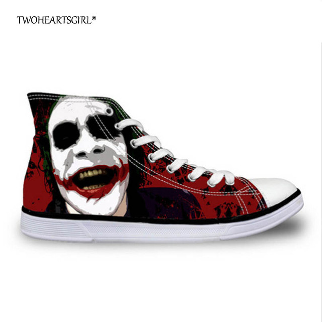 fc574a1b61b27f Twoheartsgirl Women High Top Canvas Shoes Cool Joker Harley Quinn Print  Lace Up Vulcanize Shoes Women