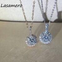 Lasamero 0.14ct круглый центр Cut создания сапфир цветок подвеска 18 К золото природных алмазов подвеска Цепочки и ожерелья