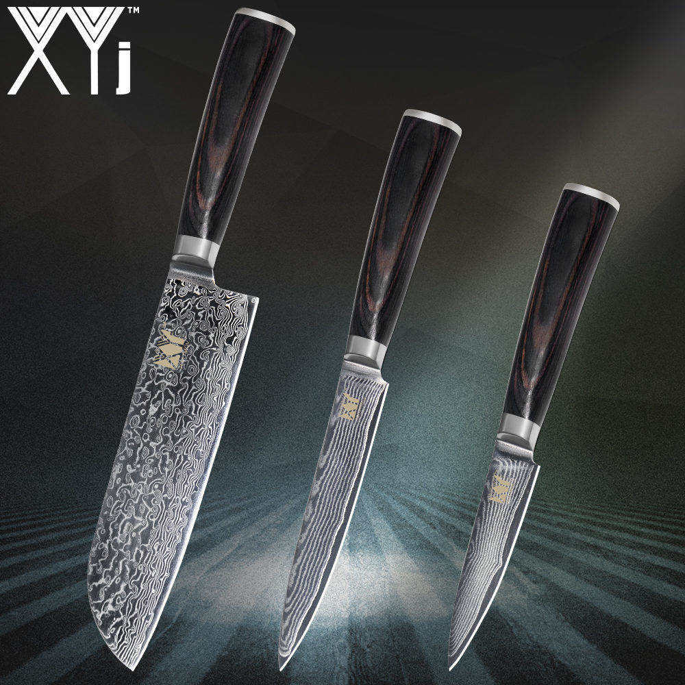 XYj Kitchen Knife Set Beauty Damascus Pattrtn VG10 Core Japanese Damascus Steel Veins Kitchen Tools Quality
