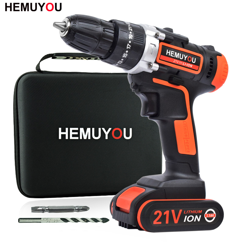 21V Electric Screwdriver Handheld Wireless Rechargeable Electric Drill Impact Drill lithium Battery Power Tool Smart Display