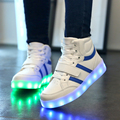Hot boys/girls shoes transpirable ligero luminoso, niños de carga usb led luz resplandeciente moda sneaker shoes