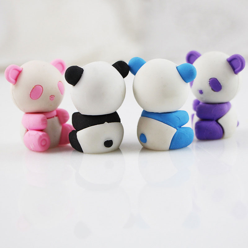 1pcs Cute Cartoon Eraser Lovely Panda Eraser Children Stationery Gift Prizes  Kawaii School Supplies Papelaria