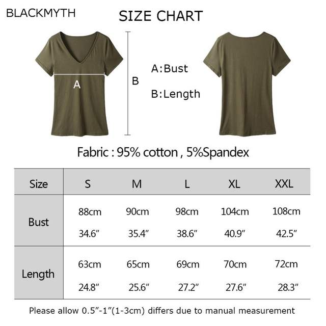 a787159288f US $7.99 25% OFF BLACKMYTH Women's V Neck Plain T shirts Summer Short  Sleeve Blank Top T Shirts Tee -in T-Shirts from Women's Clothing on ...