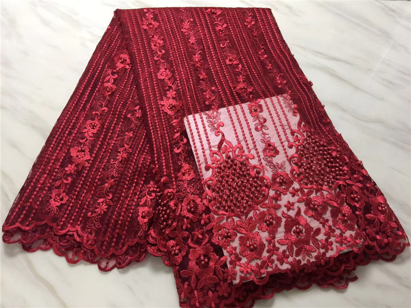 2018 red French Lace Material High Quality Net African Lace Fabric With Beaded For Nigerian Wedding