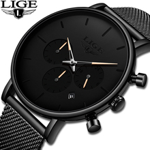 LIGE Fashion Mens Watches Top Brand Luxury Quartz Watch Men Stainless Steel Waterproof Sport Chronograph Clock Relogio Masculino цена и фото