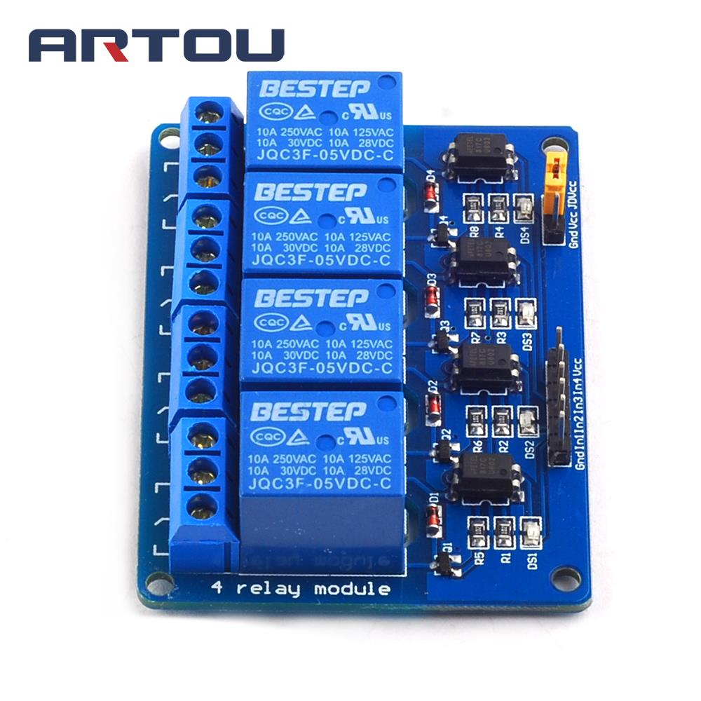 Blue 4 Channel 5v Relay Module 4channel Output Moisture Activated By Bipolar Transistor Equipped With High Current Relayac250v 10adc30v 10a Indication Led For Status Screw Holes Easy Installation