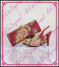 Aidocrystal summer sandals shoes woman handmade red crystal slingback and bags african sexy low heel shoes and bags