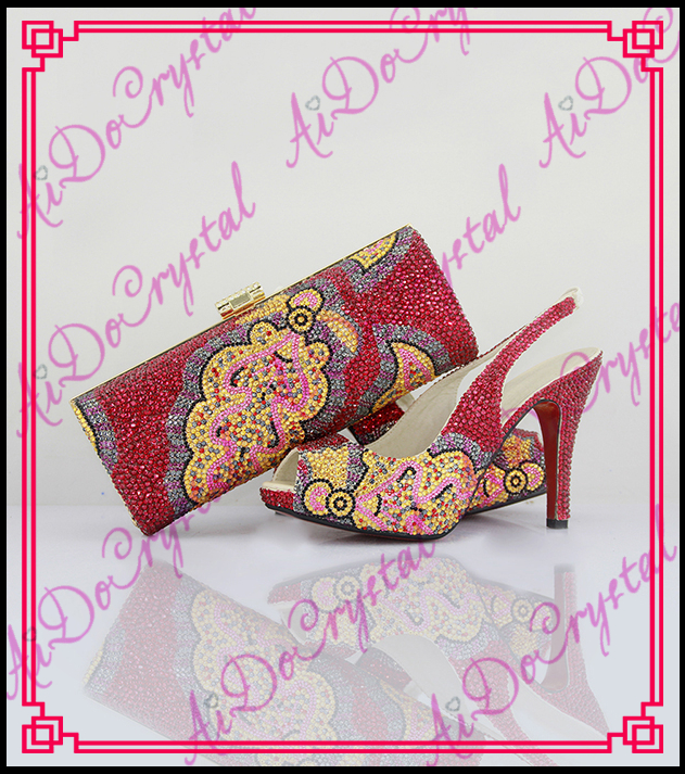Aidocrystal summer sandals shoes woman handmade red crystal slingback and bags african sexy low heel shoes and bags aidocrystal handmade fashion women summer italies popular party slingback s fuchsia crystal shoes and bag matching set