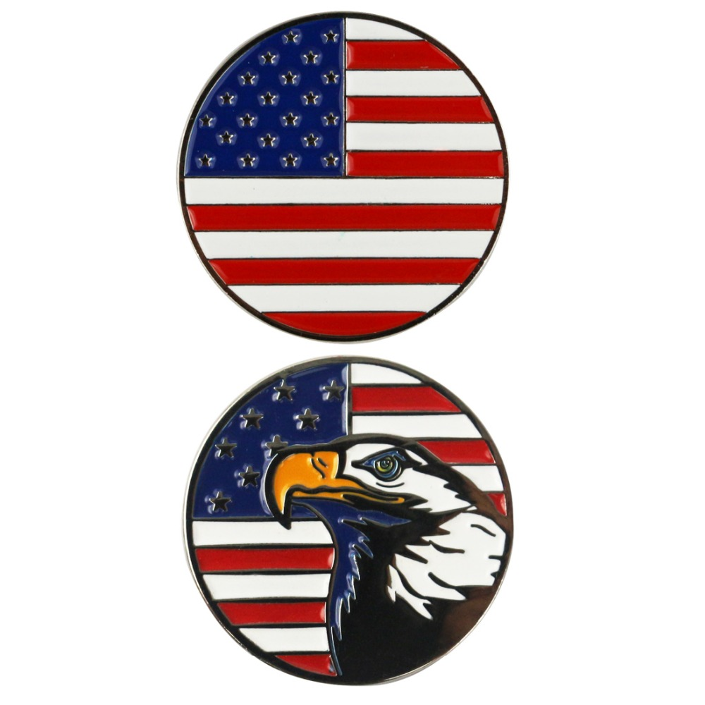 PINMEI USA Flag Eagle Golf Ball Marks fit any Magnetic Golf Hat Clips and Divot Repair Tools 2pcs per set Embossied Golf Markers