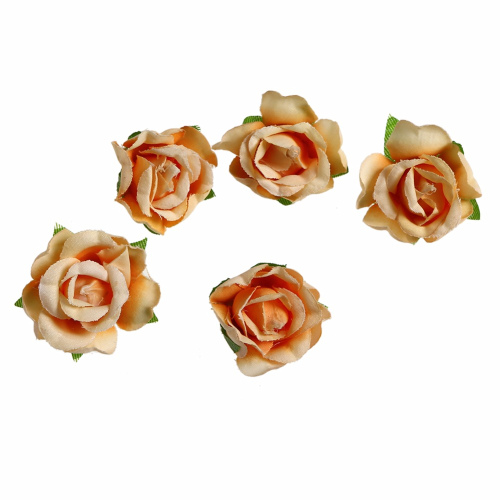 Kidocheese 200pcs lot Artificial Silk Flower Heads Simulation Flowers Decoration DIY Wreath Flower for Wedding in Artificial Dried Flowers from Home Garden