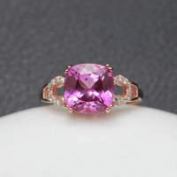 3CT Red Tourmaline rings 925 silver ring stone for women cute shank prong setting square free shipping