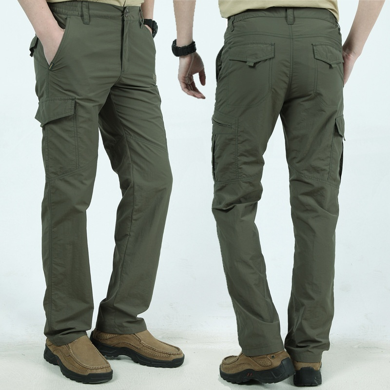 Image 4 - Military Style Tactical Pants Men's Thin Pants Cargo Work Army Breathable Waterproof Quick Dry Men Pants Casual Summer Trousers-in Casual Pants from Men's Clothing