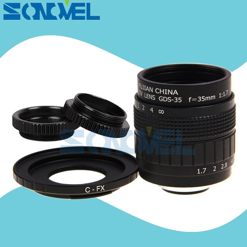 FUJIAN 35mm F1.7 CCTV TV Film lentille + C Mont + Macro anneau pour Fuji Fujifilm X-E2 X-E1 X-Pro1 X-Pro2 X-M1 X-A3 X-A2 X-A1 X-T1 C-FX