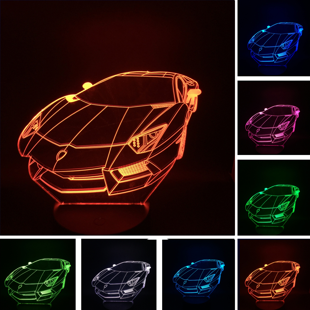 Racing Car Luminarias USB 7 Color Changing LED 3D Atmosphere Lamp Gradient Visual Nightlight Illusion Child Bedroom Decor Gifts