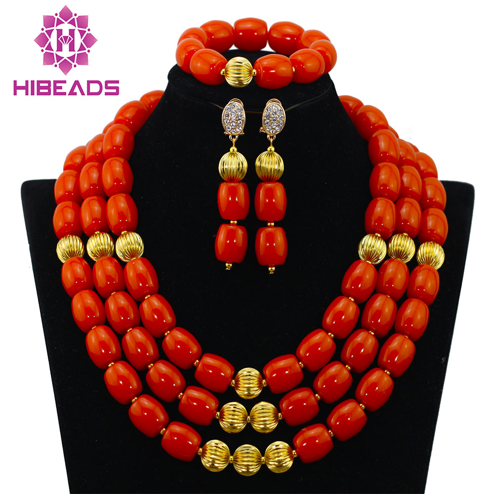 Trendy New Nigerian Beaded Necklaces Sets Christmas Gift Jewelry Artificial Coral Beads Necklace Set New Free Shipping ABF830