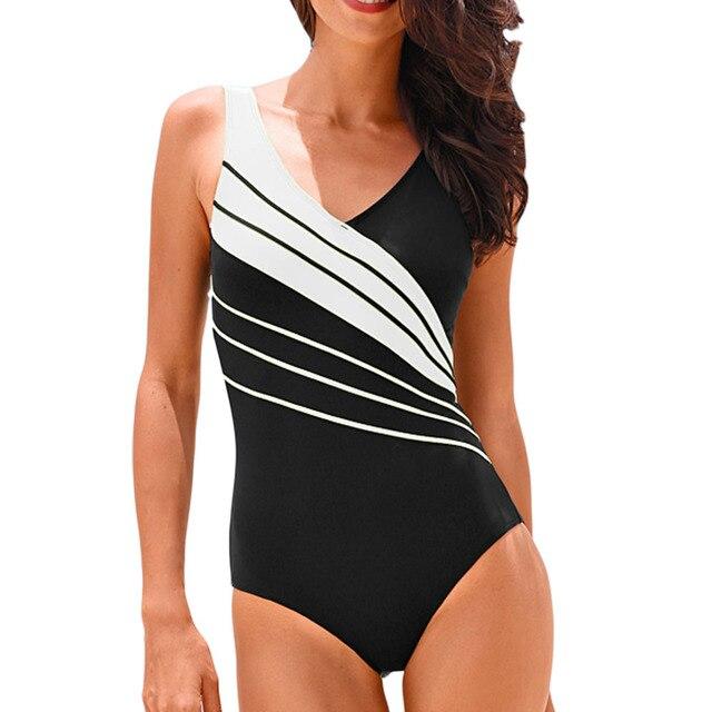 Hibkn one piece plus size swimsuit print one piece swimwear large sizes trikini plus size monokini V neck bathing suit 3