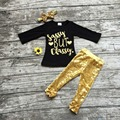 baby Girls Fall boutique clothes girls black top with gold sequin pant clothing baby girls boutique winter clothes with headband