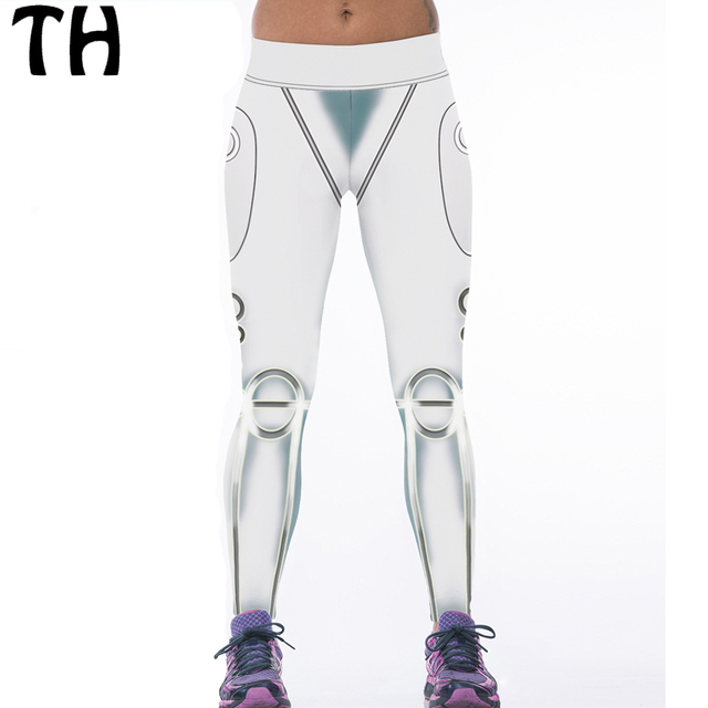 2016 White 3D Print Compression Pants Workout Fitness Leggings Women Sweatpant Workout Leggins Mujer #160382