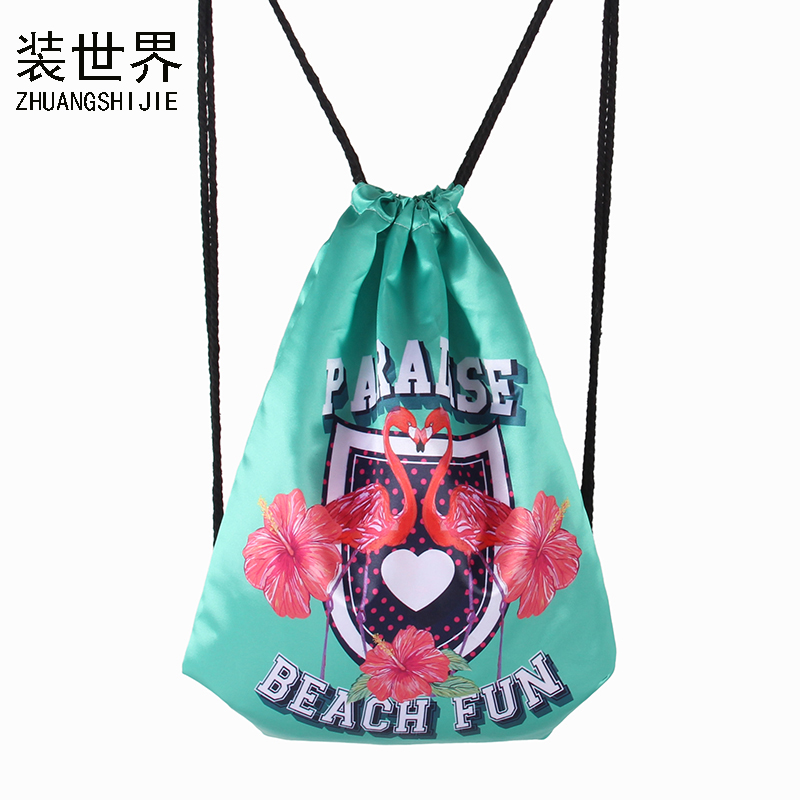3d Mode Gedruckt Flamingos Muster Girls Rucksäcke Dame Reise Frauen Einkaufs Kordelzug Schultasche Bag004 Diversifiziert In Der Verpackung Rucksäcke