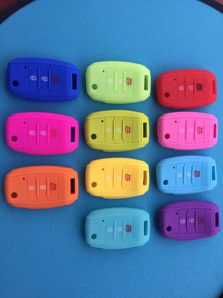Pusakieyy 1 قطعة سيارة سيليكون للطي مفتاح لكيا ريو سبورتاج 2015 ceed سورينتو سيراتو K2 K3 K4 K5 الوجه 3 زر حقيبة غطاء للمفاتيح
